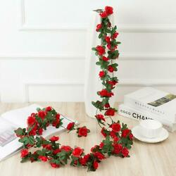 2.5M 45 Head Artificial Rose Vine Hanging Flowers For Wall Plants T9Z3