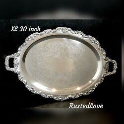 Xl Poole Lancaster Rose Silver Plated Tray 400/600 - Very Ornate 30 Inches