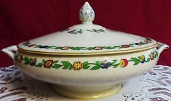 Myott, Son And Co Green Leaf Pattern 1791 Footed Round Covered Vegetable Bowl