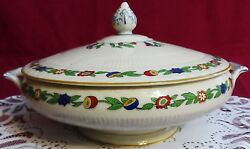 Atq Myott, Son And Co Green Leaf Pattern 1791 Footed Round Covered Vegetable Bowl