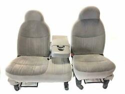 1998-99 F150 Front Seat 40/60 Bench Power W/armrest 3dr Graphite Gray Zv Cloth
