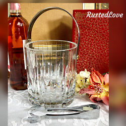 Vintage Mikasa Park Ave Ice Bucket With Vertical Cuts Blown Glass Discontinued