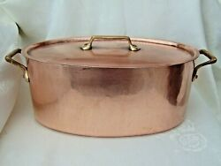 Antique French 30cm Oval Dovetailed Hammered Copper Casserole Dish Cocotte