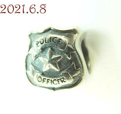 Retired Chamilia Sterling Silver Charm Serve And Protect 2010-3016 Police Badge
