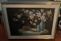Robert Lebron Signed Original Oil On Canvas Still Life With Flowers Framed 44x33
