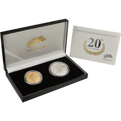 2006-w Us American Eagle 20th Anniversary Gold And Silver Burnished Two-coin Set