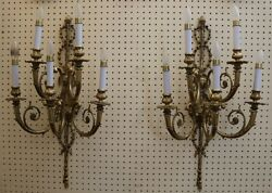 Great Pair French Louis Xvi Brass 5 Light Sconces
