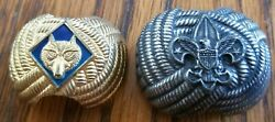 Lot Of 2 - Boy Scout Wolf And Eagle Neckerchief Slide Tie