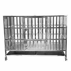 48 Heavy Duty Stainless Steel Dog Cage Kennel Large Crate Folding Pet Playpen