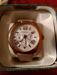 Fossil Am4532 White Dial Ladyand039s Watch Genuine W/extra Strap New