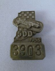 1968 Indianapolis 500 Silver Pit Badge Bobby Unser Rislone Leader Cards Eagle