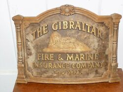 Vintage The Gibralter Fire And Marine Insurance Company Ny Sign