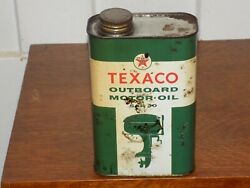 Vintage Texaco Outboard Motor Oil 1 Quart Empty Can