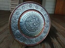 Middle East Persian Qajar Tray Silver Tone And Copper Engraved 12