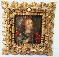 17 Century Portrait Of The Queen Anne Of England Oil Painting On Wood Panel