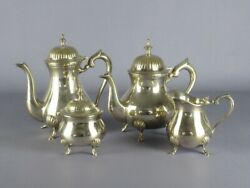 Vintage Service For Tea And Coffee' 4 Piece Plated Silver Period Xx Century