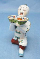 Hand-painted Herend Hungary Porcelain Figurine Of An Asian Man With A Bowl