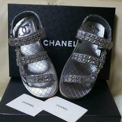 Auth Cc Chain Leather Footbed Slingback Flat Dad Sandals Silver Sz36 New