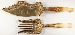 Whiting Ivory Sterling Silver Two Piece Fish Set Vermeil C1890