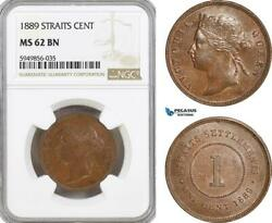 Ag628, Straits Settlements, Victoria, 1 Cent 1889, Ngc Ms62bn