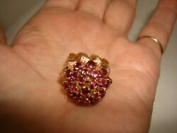 Nice Collectible 60and039s Huge 14k Yellow Gold Ruby Rubies Hand Made Harem Ring 6.5