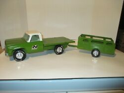 Vintage Nylint Toys Nylint Farms Flatbed Truck And Trailer Stakebed 1970's Steel