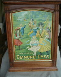 1906 Diamond Dyes Store Display Tin Litho And Oak Cabinet The Governess