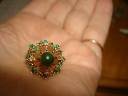 Collectible 60and039s 14k Yellow Gold Emerald Diamond Jade Hand Made Harem Ring 6.5