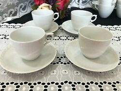 Set Of 4 Royal Copenhagen White Half Lace Cups And Saucers 2 1/2