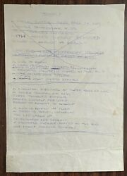 Original Hand Written 1966 Poem Triangle And Autograph By Ginger Baker Cream