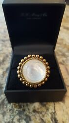 New Stephen Dweck 20mm White Mother Of Pearl Bronze Statement Ring Size 7