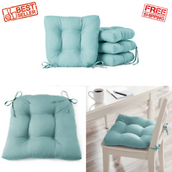 4 Pack 14.5 Seat Cushions Chair Pad Indoor Chair Patio Seats Cushion Ties Teal