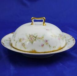 Antique Theodore Haviland French Limoges Pink And White Rose Covered Butter Dish