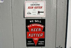 2 Vintage Keen Kutter Axes Knives Tools Tin Signs Usa Sign Aaa Co. Embossed