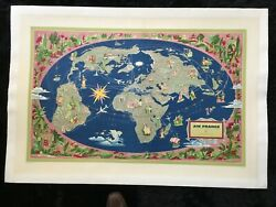 Lucien Boucherand039s 1959 Air France Pictorial Map Of The World Poster -linen Lined