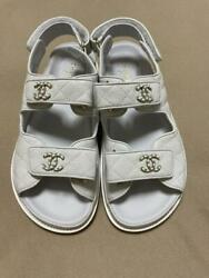 Auth Chain Cc Leather Footbed Slingback Flat Dad Sandals White Sz37 New