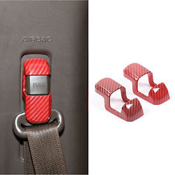 Car Seats Safety Belt Button Cover Trim For Ford F150 2015+ Red Carbon Fiber