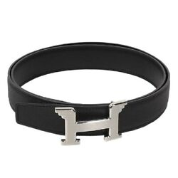 Authentic Hermes Men's Leather Belt Black Size 95 Pre-owned From Japanj