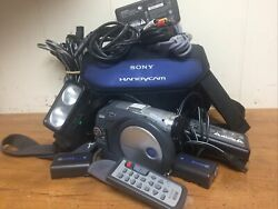 Sony Handycam Dcr-dvd201 With Cables, Bag, Chargers, Amateur Movie Light, Remote