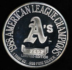 10 Oakland A's Athletics 1988 American League Champs Mlb 1 Oz Silver Round