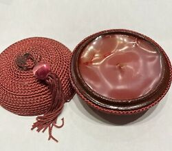 Round Red Candle In a Chinese Style Hat Container New No Tags. Never Used