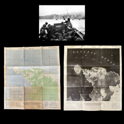 Rare Wwii 1944 D-day And039red Beach 2and039 Tanahmerah Bay Double Sided Infantry Map