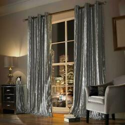 Kylie Minogue Iliana Silver Curtains Pair Lined Eyelet Ready To Hang