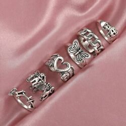 Women's Vintage Silver Plated Rings Punk Heart Butterfly Skull Ring Sets Jewelry