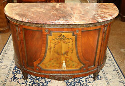 Great French Marble Top Paint Decorated Commode Chest Dresser Circa 1920's