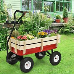 Outdoor Pulling Garden Cart Wagon With Wood Railing Pull All Your Garden Needs