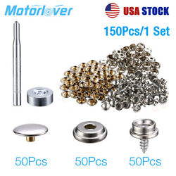 152pcs Silver Stainless Steel Boat Marine Canvas Fabric Snap Cover Button Socket