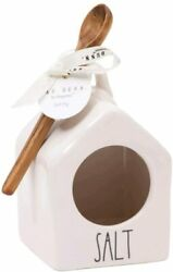 Brand New Rae Dunn White Salt Pig With Wooden Spoon