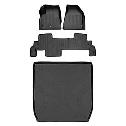 All Weather Floor Mats Set And Cargo Liner For Chevy Suv With Bench Seats Black