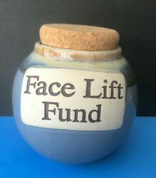 Face Lift Fund Word Bank Jar With Cork Topper Glazed Blue Ceramic Art Pottery